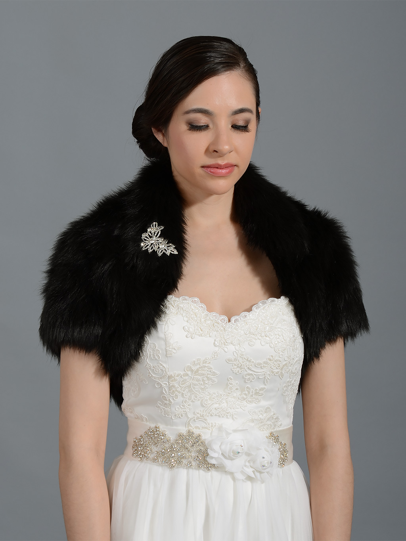 Black Faux Fur Jacket Shrug Bolero Wrap Fb003 Black