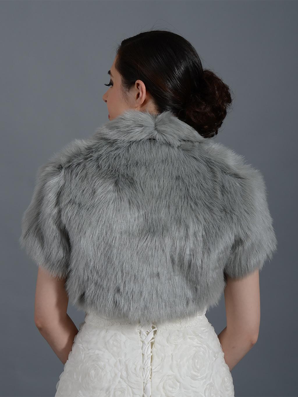 Silver Faux Fur Jacket Shrug Bolero Wrap Fb003 Silver
