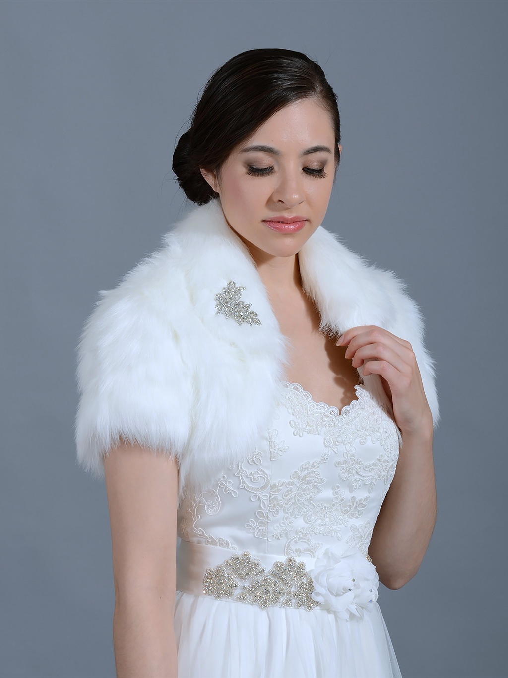 White faux fur jacket shrug bolero Wrap FB003_White