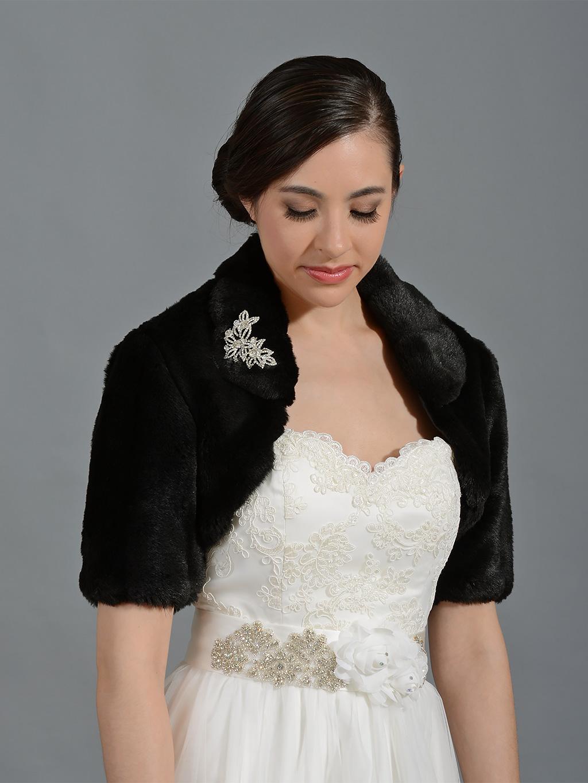 Black Elbow Length Sleeve Faux Fur Bolero Jacket Fb004 Black