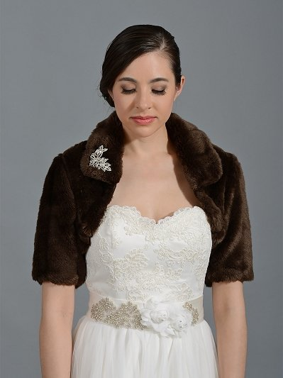 Brown elbow length sleeve faux fur jacket shrug bolero FB004_Brown