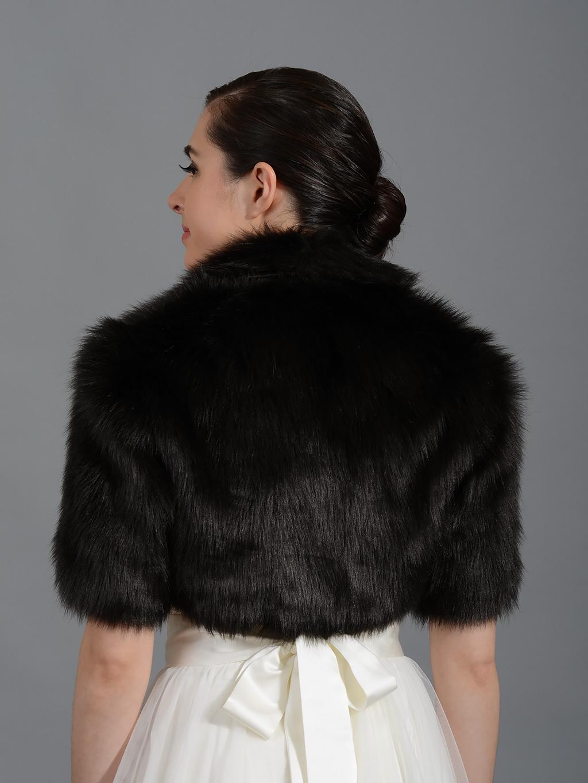 Black Elbow Length Sleeve Faux Fur Bolero Jacket Shrug Wrap