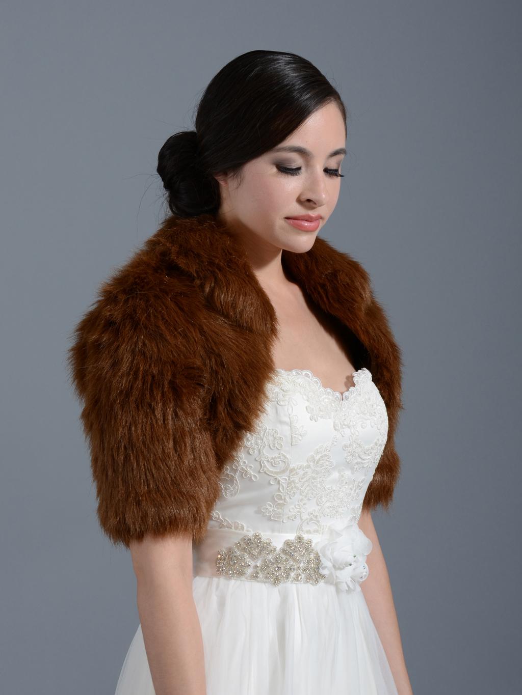 Brown Elbow Length Sleeve Faux Fur Bolero Jacket Shrug Wrap