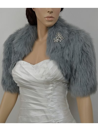Silver elbow length sleeve faux fur bolero jacket shrug Wrap