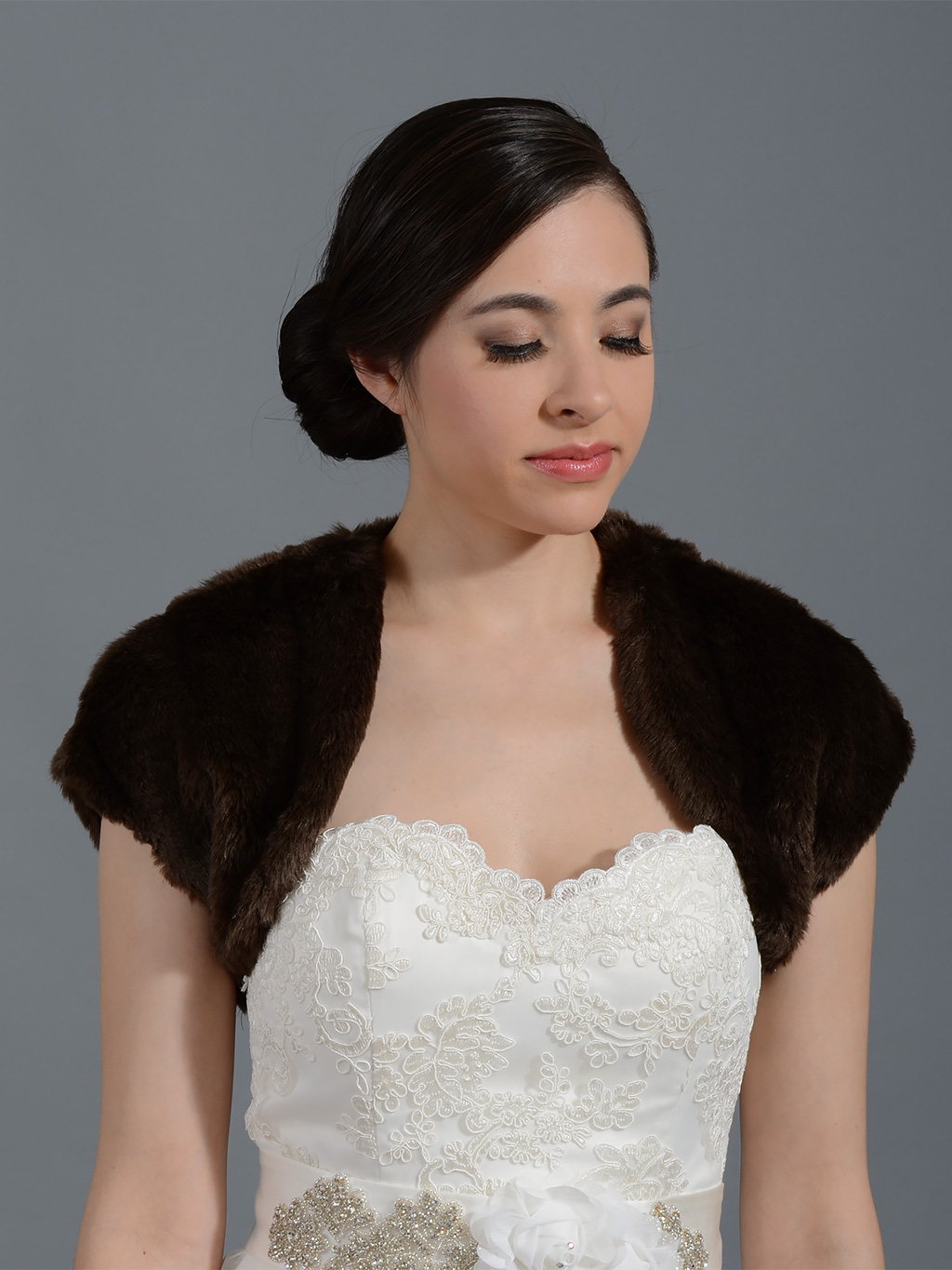 Brown faux fur bridal shrug bolero wrap FS001_Brown