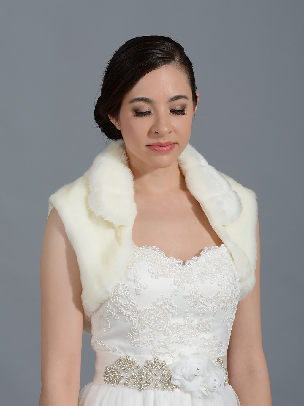 Faux fur shrug bolero wrap shawl FS003 ivory white and Black