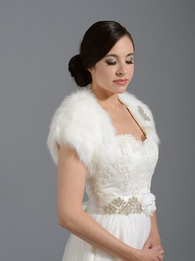 Bridal faux fur shrug bolero FS004
