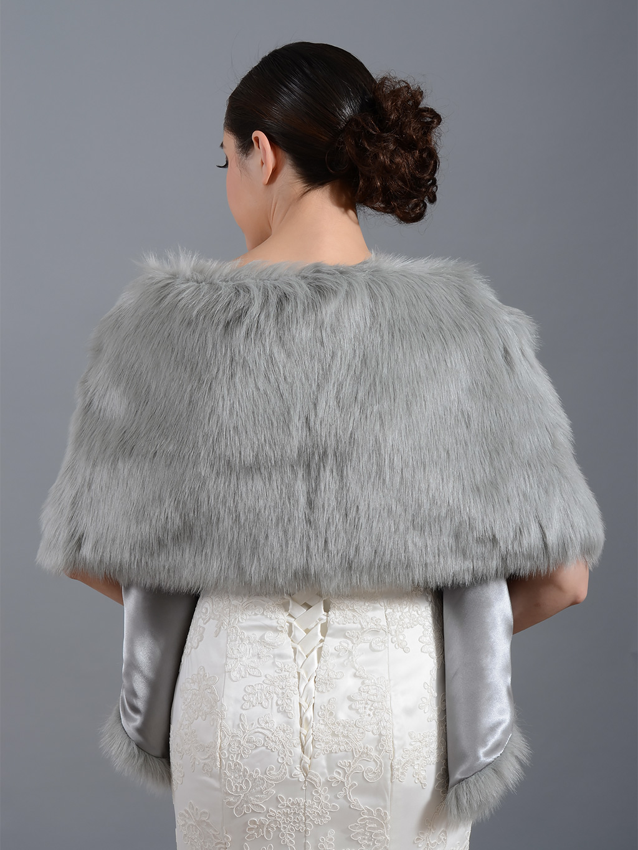 Faux fur wrap bridal shrug FW010