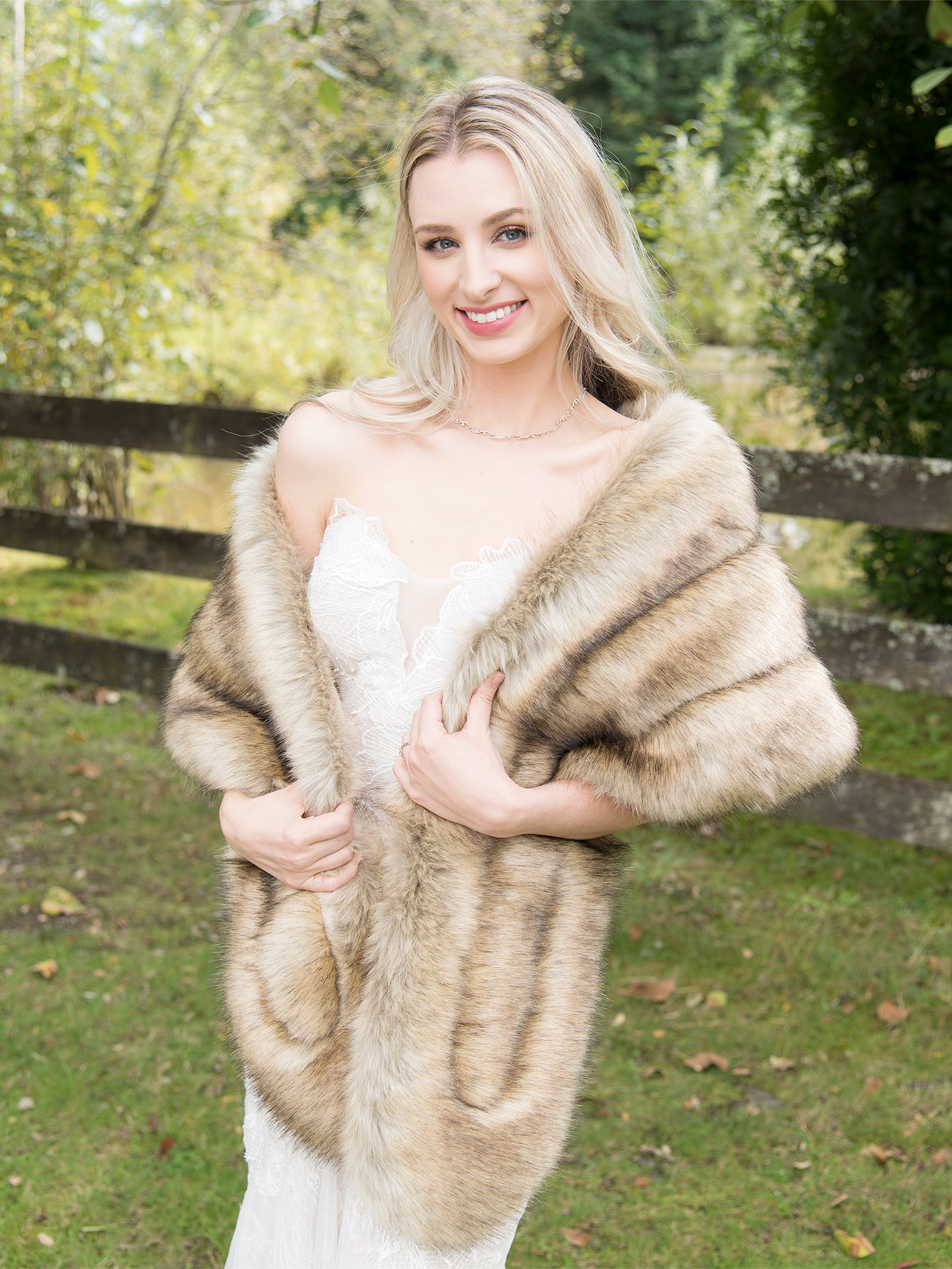 Faux fur stole bridal wrap B001-fox