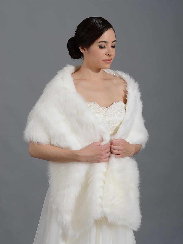 White Fur Stole >> Faux Fur Stole Bridal Wrap Shrug A002