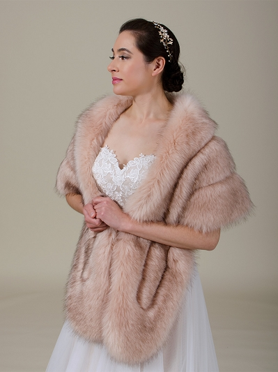 Blush pink faux fur wrap bridal stole B001-Blush