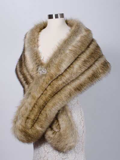 Faux fur wrap bridal stole B001-fox