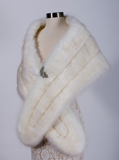Faux fur stole bridal wrap B001-light-ivory