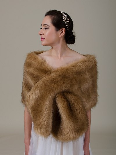 Brown faux fur wrap bridal stole B005-Brown