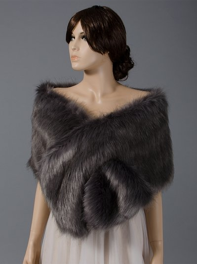 Dark Gray faux fur wrap bridal stole B005-DarkGray