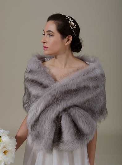 Gray faux fur wrap bridal stole B005-Gray
