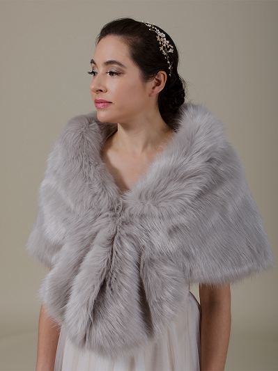 Gray faux fur wrap B006-Gray