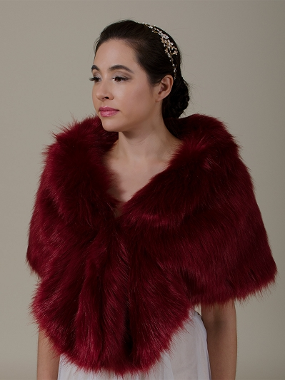 Wine red faux fur wrap B006-winered