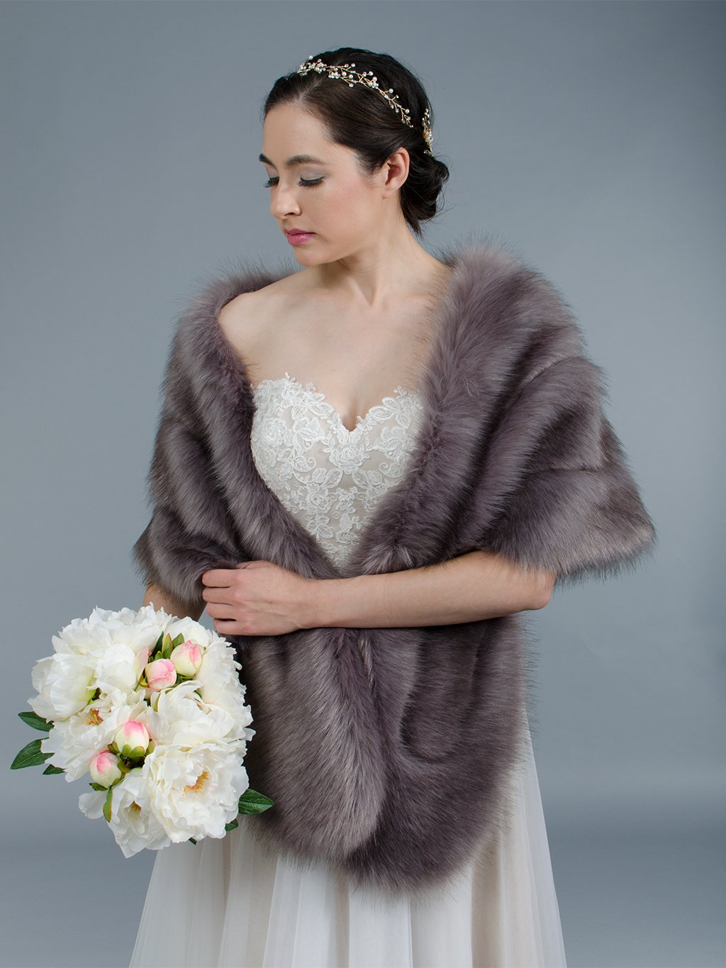 Dark Gray faux fur stole bridal wrap B001-DarkGray