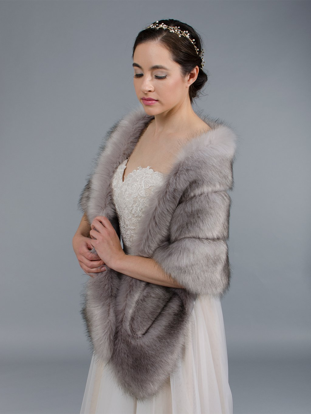Gray faux fur stole bridal wrap B001-Gray
