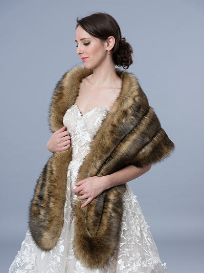Faux fur stole bridal wrap B001-darkfox