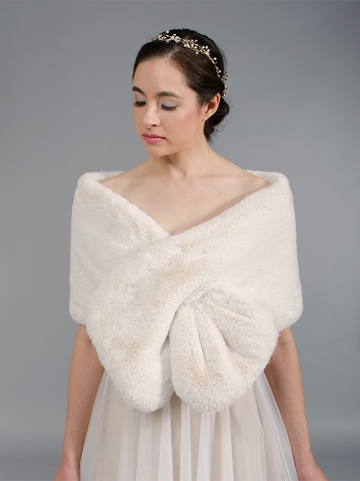 Blush / light brown faux fur wrap bridal stole B004-blush