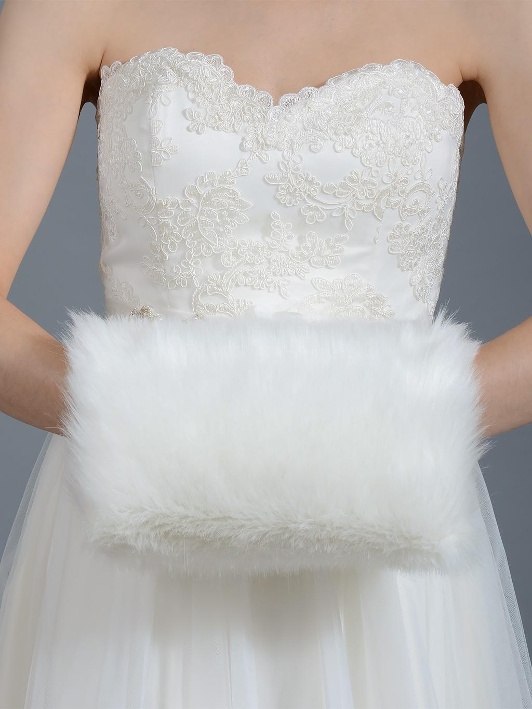 White Fur Stole >> Faux fur winter wedding muff FM002