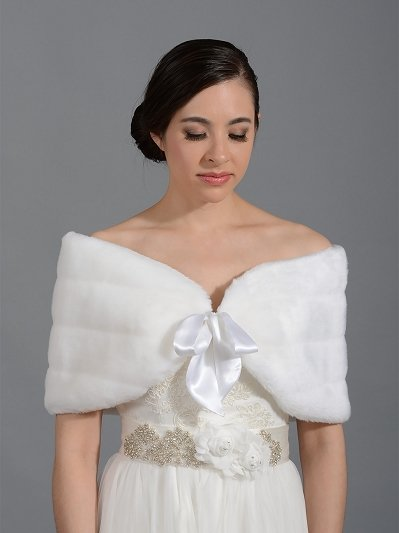 Faux fur shawl bridal wrap shrug stole A003 ivory and White