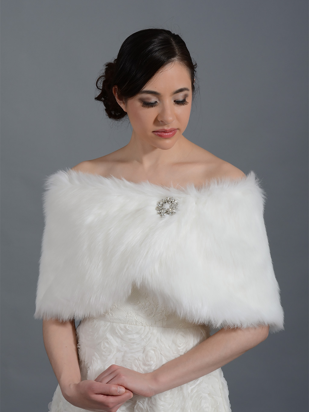 Faux fur wrap bridal shrug FW011