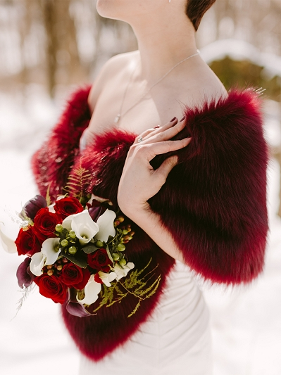 Burgundy faux fur wrap bridal stole B005-Burgundy