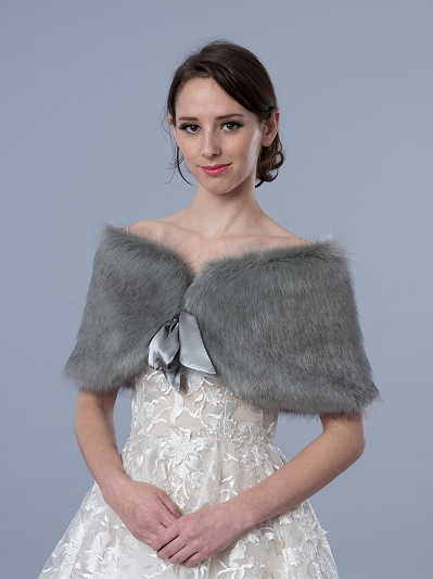 Silver faux fur wrap bridal shrug stole shawl Cape C002-silver