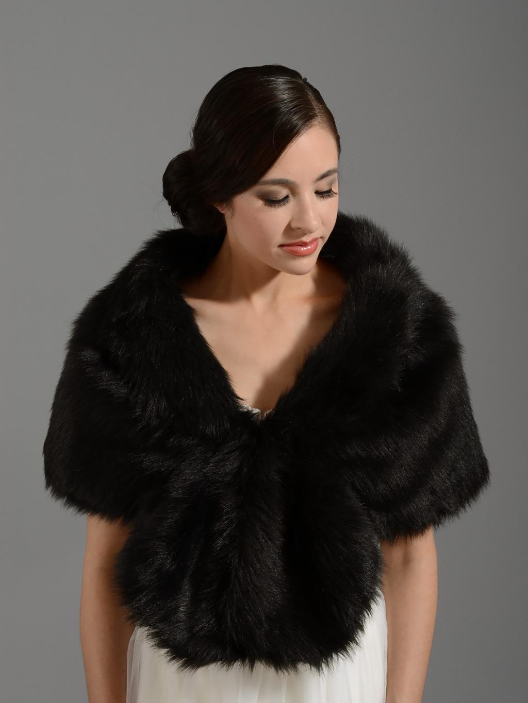 Black Faux Fur Wrap Bridal Shrug Stole Shawl