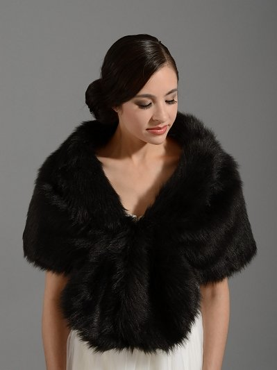 Black faux fur wrap bridal shrug stole shawl