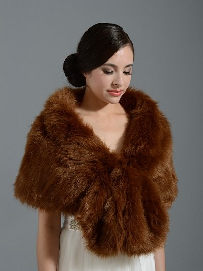 Dark Brown wedding bridal faux fur wrap A001_DarkBrown