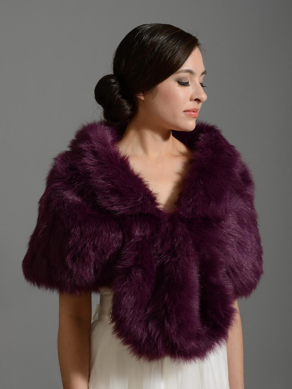 Faux Fur Wrap A001 Purple