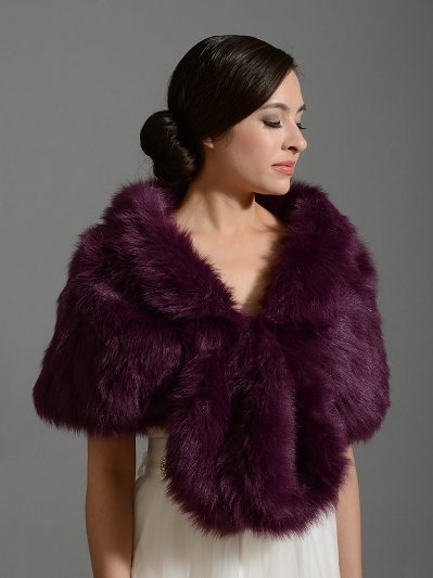Purple wedding bridal faux fur wrap shrug stole shawl A001_Purple