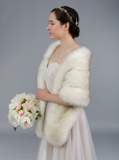 Faux fur stole bridal wrap B001