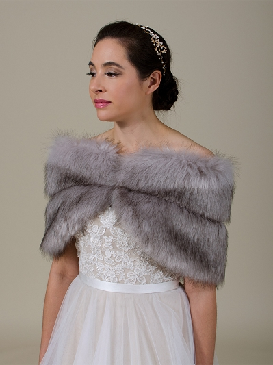 Gray faux fur wrap bridal stole shawl