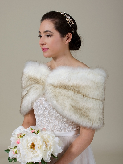 Ivory faux fur wrap bridal stole with Brown tips