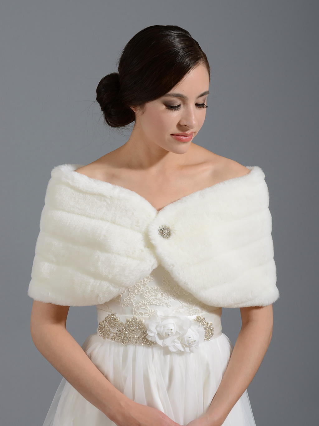 Faux Fur Wrap Bridal Shrug With Plus Size Fw001