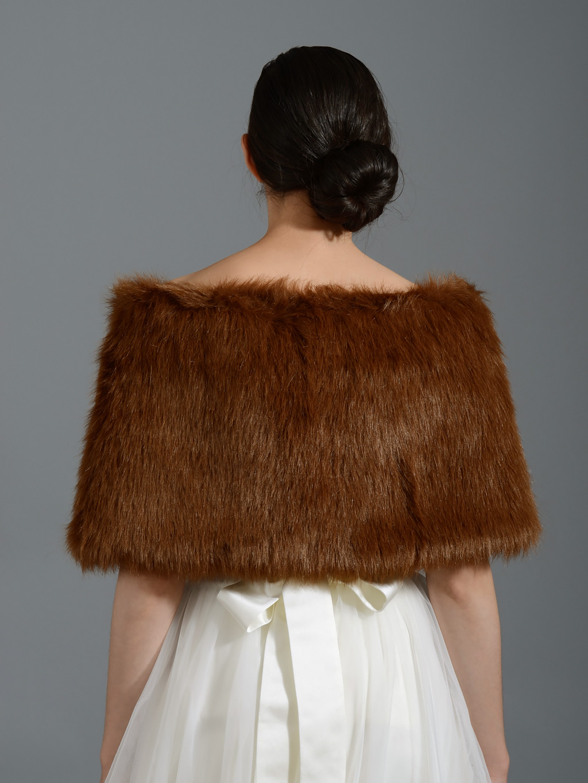Brown Bridal Faux Fur Wrap Stole Shawl Fw005 Brown