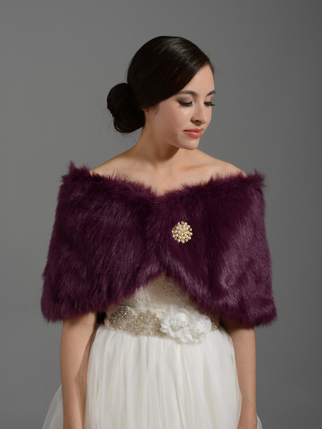 Purple bridal faux fur wrap stole shawl FW005_Purple