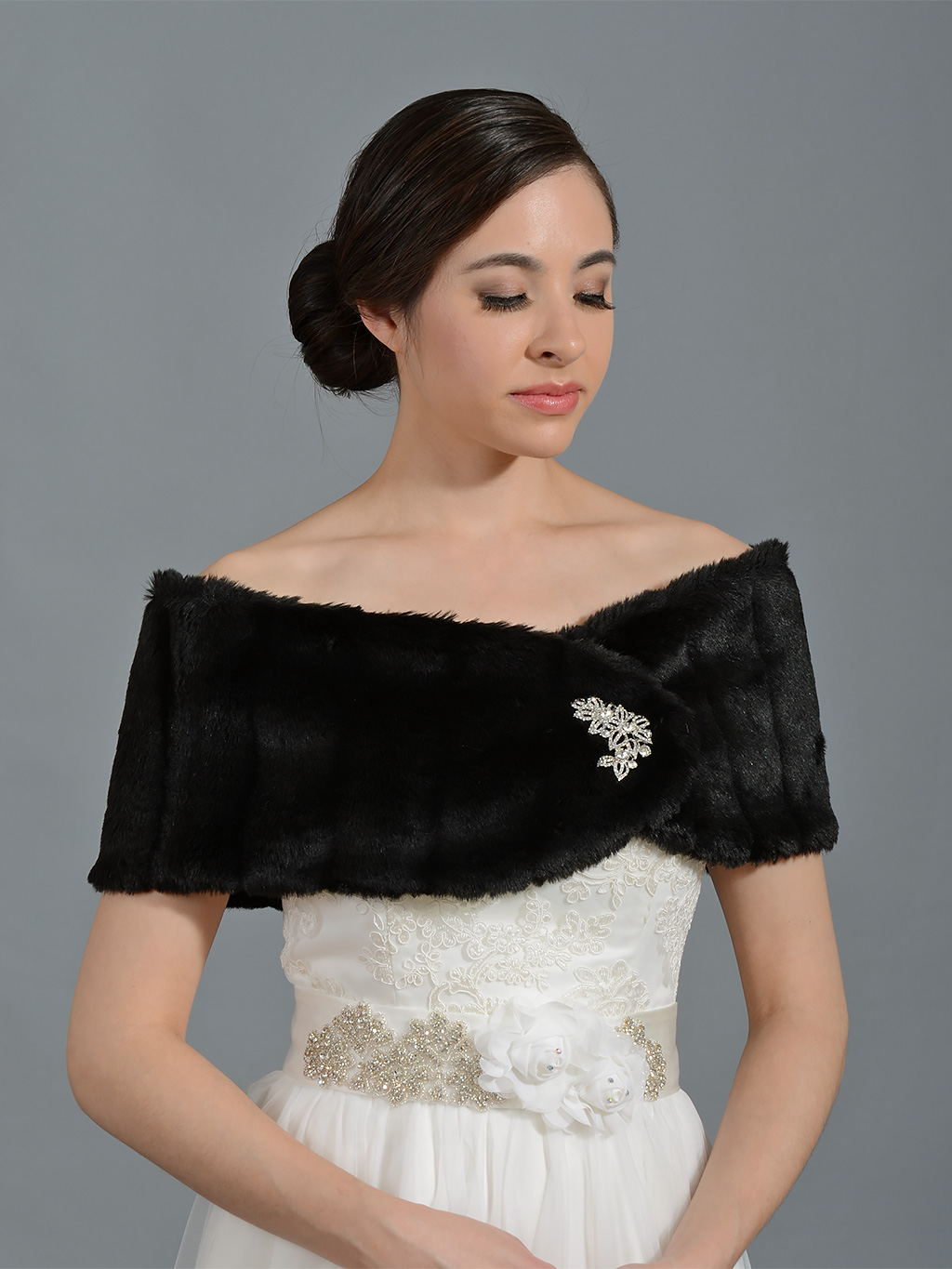 Black Faux Fur Wrap Bridal Shrug Fw006 Black