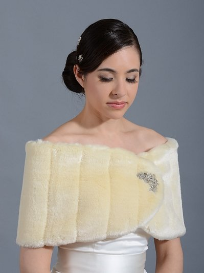 Champagne faux fur wrap bridal shrug FW006