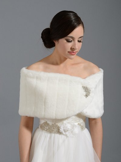 Faux fur wrap bridal shrug FW006 white