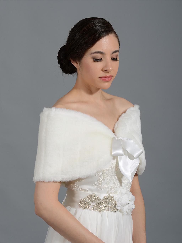 Ivory Faux Fur Shawl Bridal Wrap Fw008 Ivory
