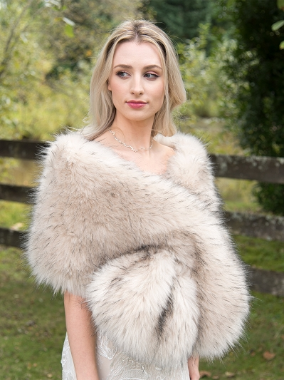 Light blush faux fur wrap bridal stole B005-light-blush