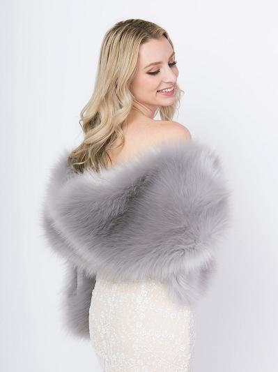 Gray faux fur wrap bridal stole B002-Gray