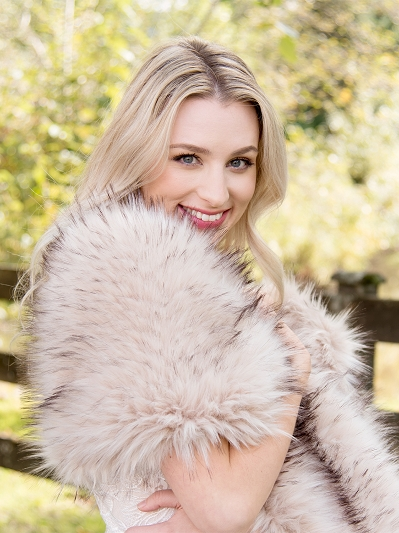 Blush faux fur wrap bridal stole B005-Blush