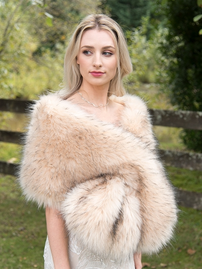 Champagne / Peach faux fur wrap bridal stole B005-Peach